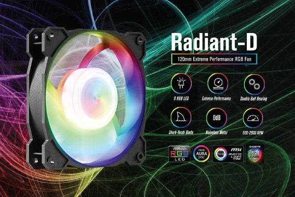 FN-RADIANTD-20 GELID SOLUTIONS Radiant-D RGB LED Fans with Digital RGB Controller